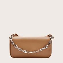 Minimalist Satchel Bag With Chain Handle