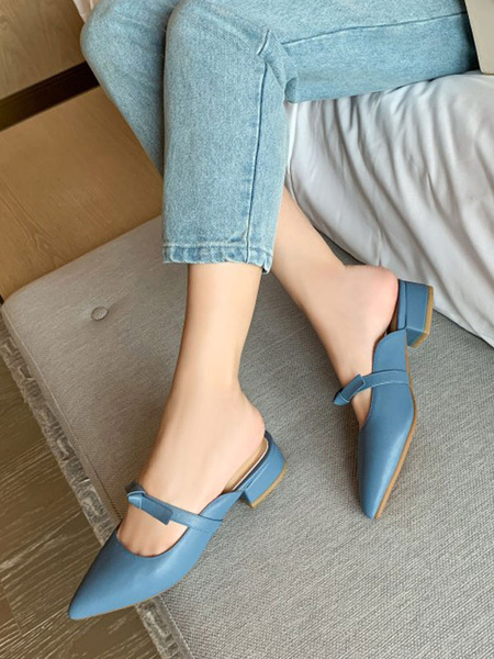 Milanoo Women Mules PU Leather Dazzling Blue Pointed Toe Slip-On Shoes