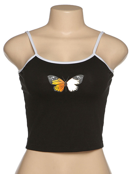 Milanoo White Cami Top Butterfly Print Camis For Women