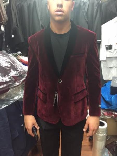 Maroon Velvet Velour dinner Jacket Shawl Collar Tuxedo Blazer