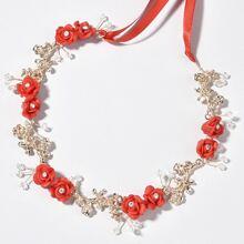 Haar Accessory mit Strass Dekor und Blumen Design