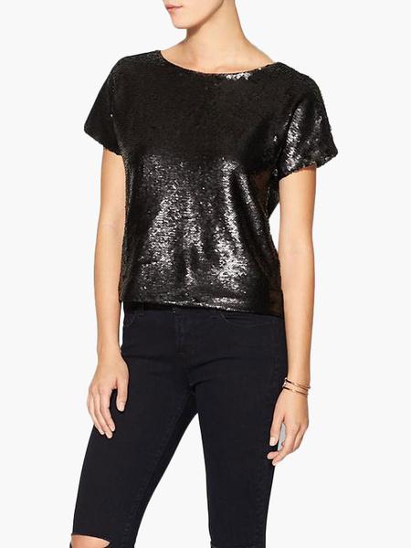 Milanoo Black Sequin Top Women's Short Sleeve Glitter T Shirt