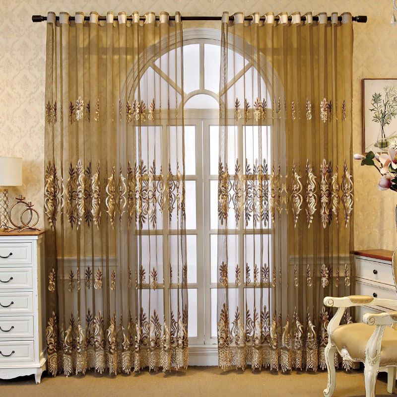Elegant Embroidered Decoration Sheer Curtains Custom 2 Panels Breathable Voile Drapes for Living Room No Pilling No Fading No off-lining