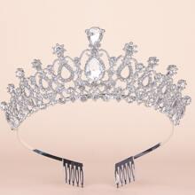 Rhinestone Decor Crown Hair Accessory