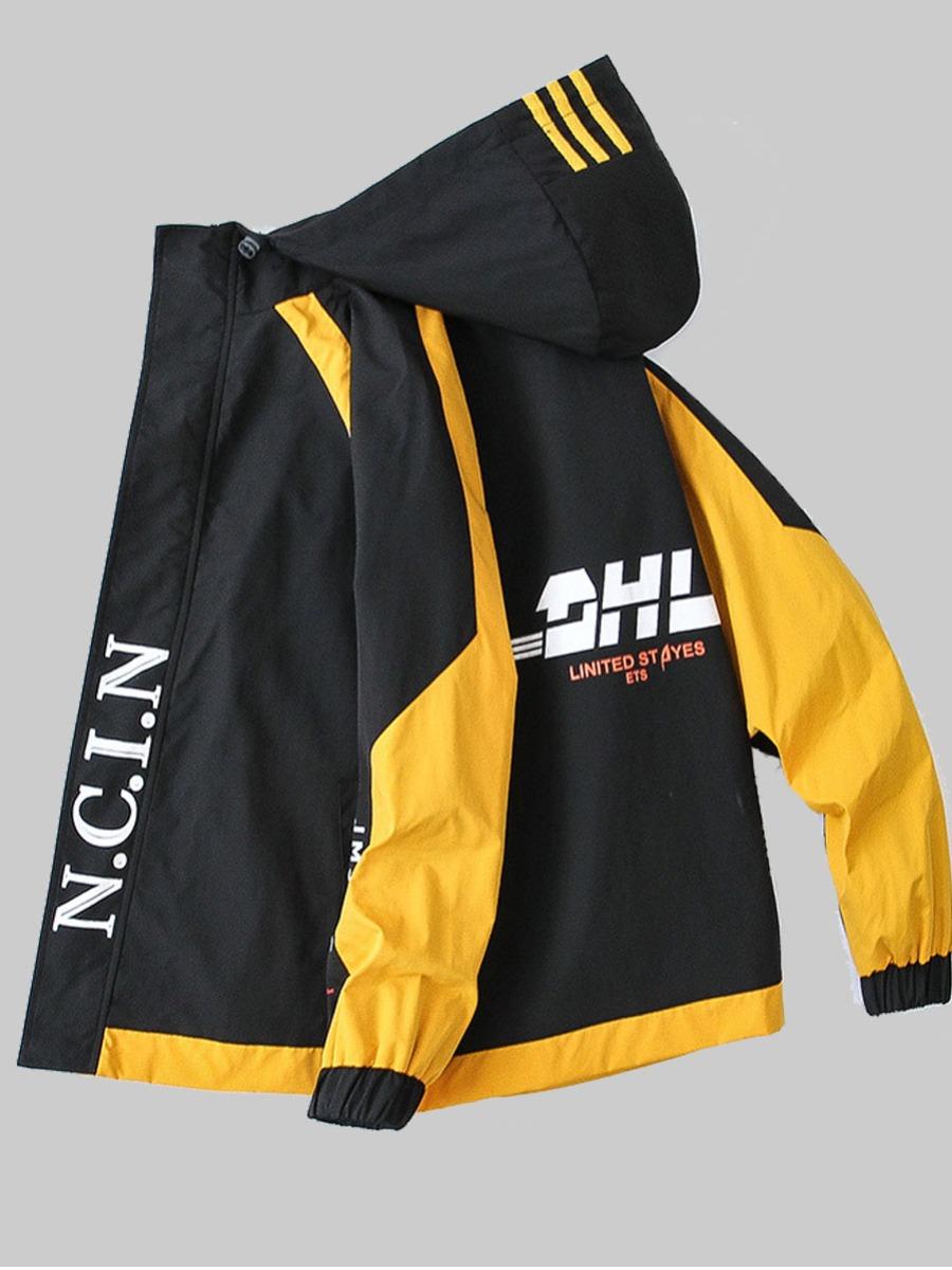 LW lovely Trendy Hooded Collar Letter Patchwork Black Men Jacket