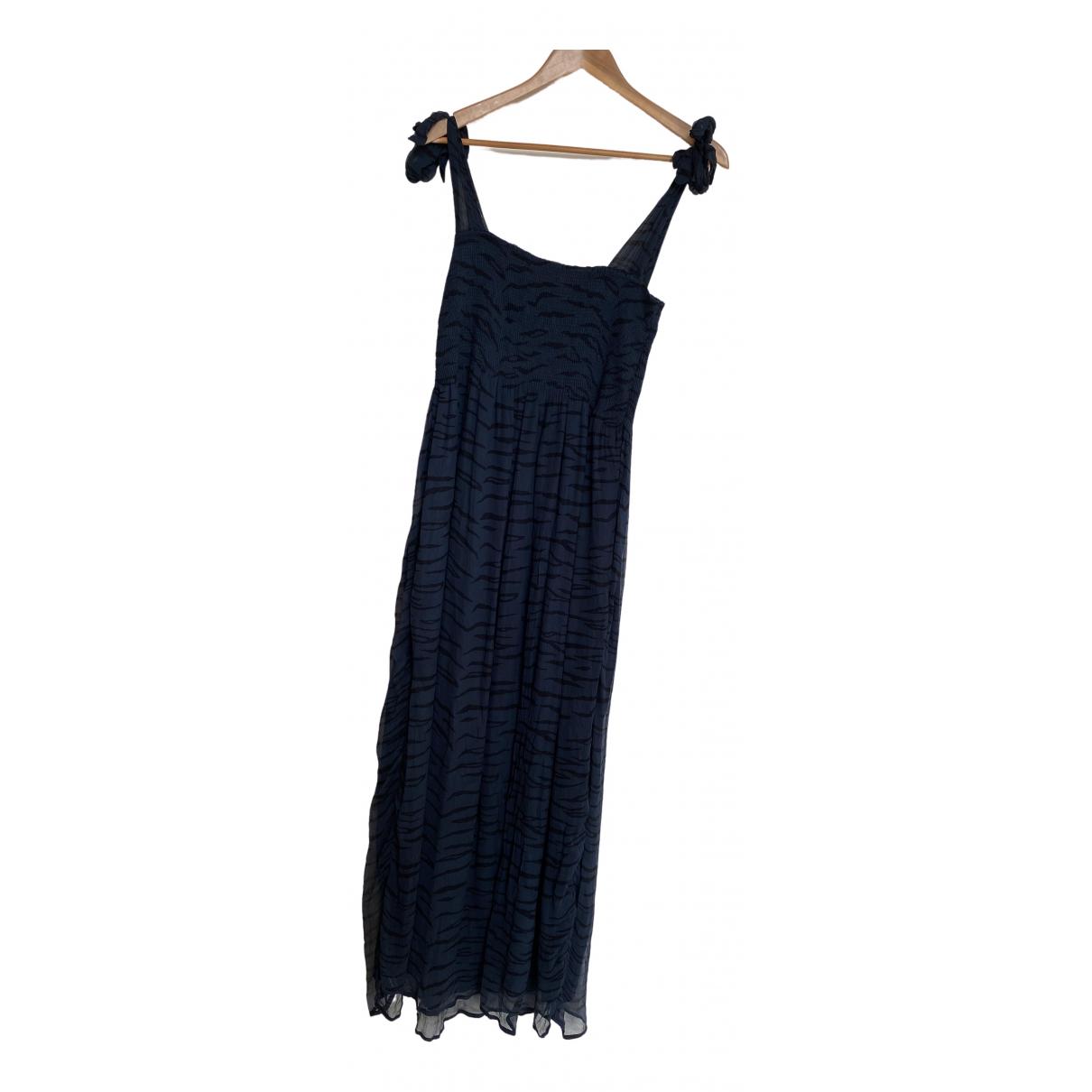 Ganni \N Kleid in  Marine Seide