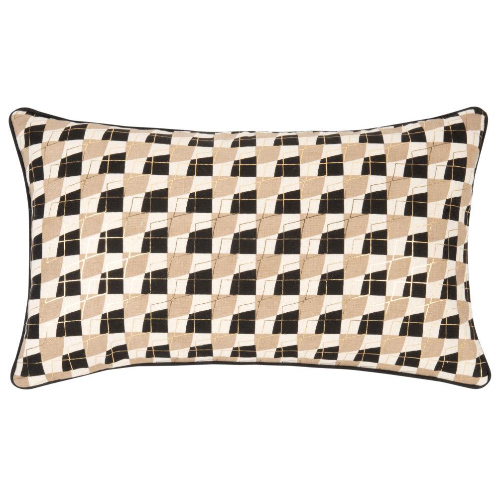 Kissenbezug aus Baumwolle in Braun, Gold und Ecru, mit grafischen Motiven 50x30