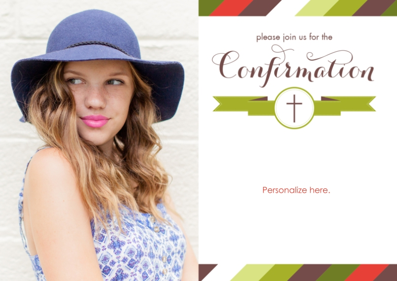 Confirmation 5x7 Cards, Premium Cardstock 120lb with Rounded Corners, Card & Stationery -Multi Stripe Banner Girl