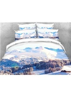 Snowy Mountains 3D Scenery Comforter Soft Lightweight Warm 5Pcs Comforter with 1Sheet and 2Pillowcases
