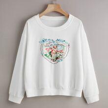 Letter Figure Graphic Sweatshirt