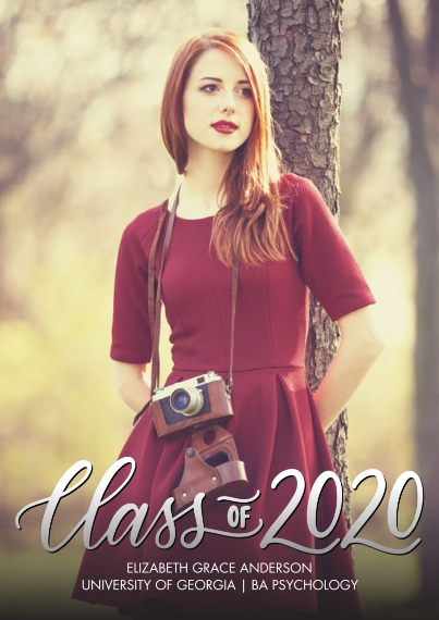 2020 Graduation Announcements 5x7 Cards, Premium Cardstock 120lb with Rounded Corners, Card & Stationery -2020 Classic Script by Tumbalina