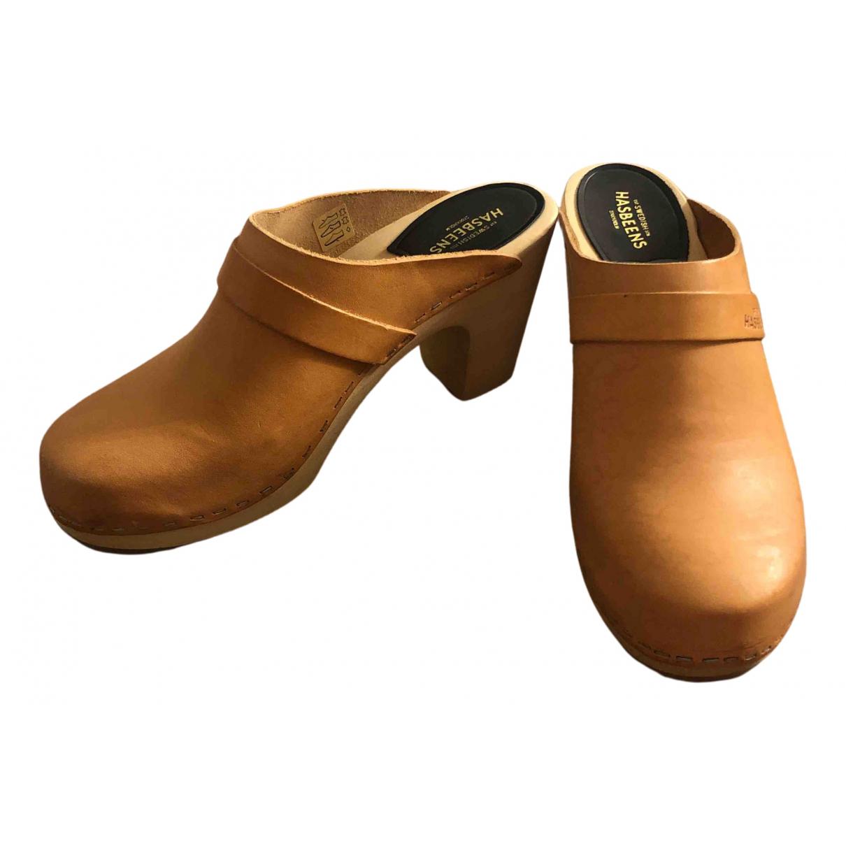 Swedish Hasbeens N Orange Leather Mules & Clogs for Women 40 EU