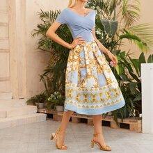 Off Shoulder Rib-knit Cross Wrap Baroque Combo Dress