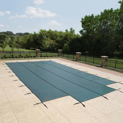 WS337G Green 18-Year Mesh Safety Cover For 16-Ft X 32-Ft Rect Pool W/ Left
