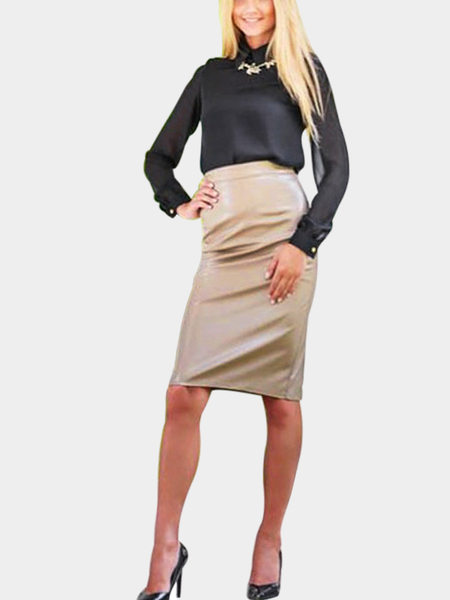 Yoins Leather Look Pencil Skirt in Gold
