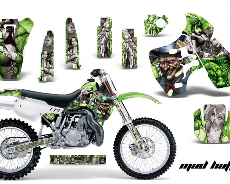 AMR Racing Dirt Bike Graphics Kit Decal Sticker Wrap For Kawasaki KX500 1988-2004áHATTER SILVER GREEN