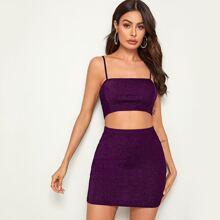 Glitter Crop Cami Top & Bodycon Skirt Set