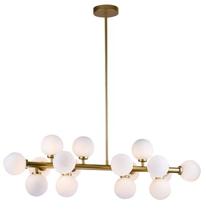 MU29 16-Light Ceiling Fixture with Steel and Glass Materials and 5 Watts in Gold