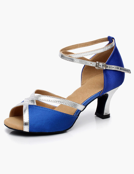 Milanoo Correa puntera abierta del tobillo saten latino zapatos