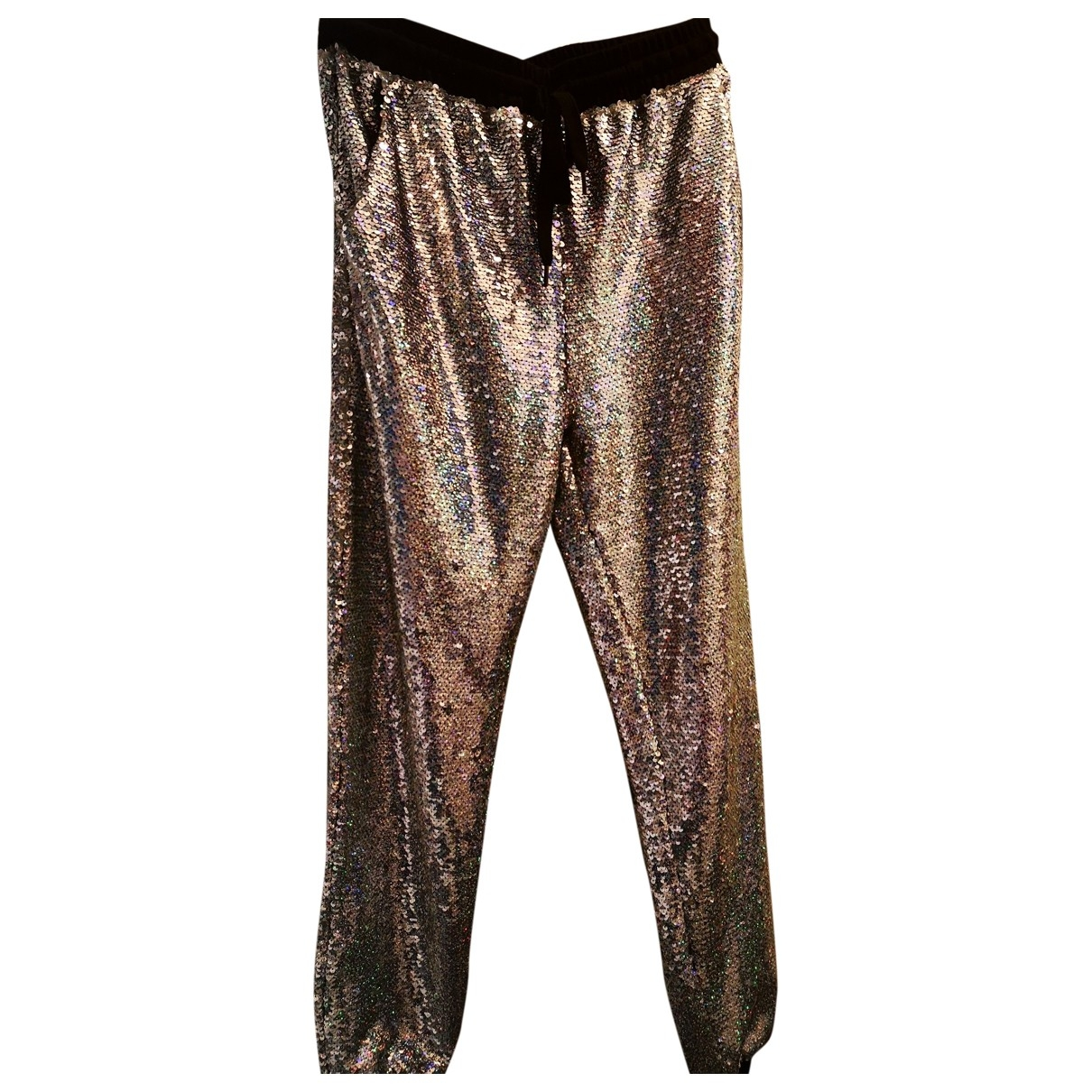 Non Signé / Unsigned \N Silver Spandex Trousers for Women 40 IT