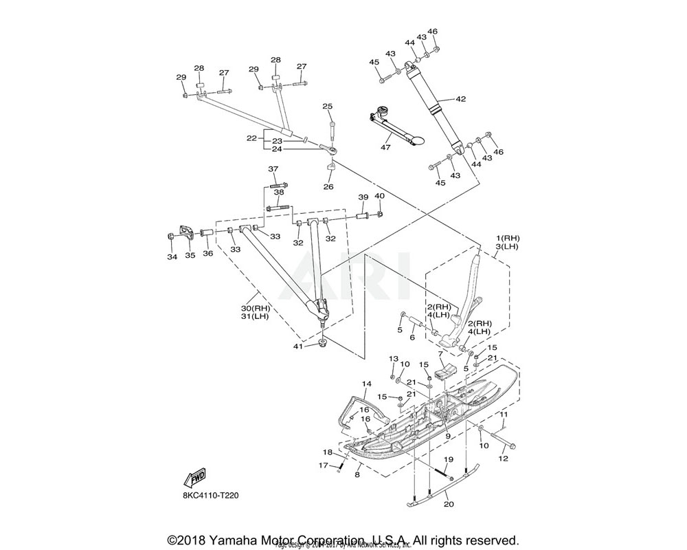 Yamaha OEM 8JP-RA731-00-00 COLLAR, 75