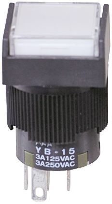 NKK Switches Double Pole Double Throw (DPDT) Latching Blue LED Push Button Switch, IP65, 16 (Dia.)mm, Panel Mount