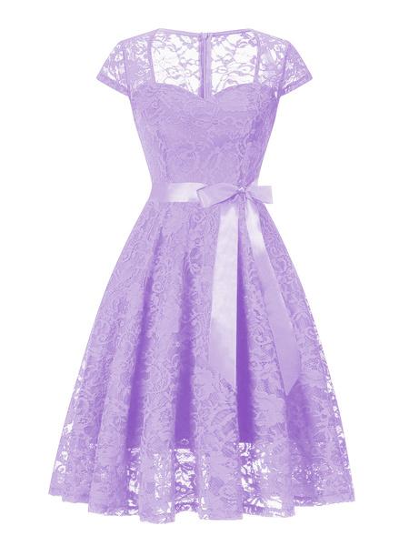 Milanoo Vestidos de encaje lila Jewel manga corta cuello Vestidos cordon retro