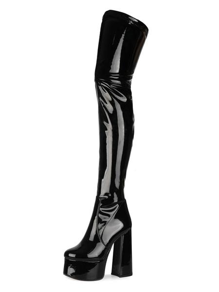 Milanoo Over The Knee Boots Black Round Toe Chunky Heel High Heel Platform Winter Boots For Women