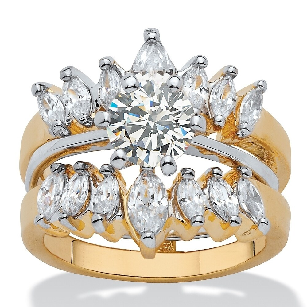 Yellow Gold-Plated 2 Piece Bridal Ring Set Cubic Zirconia (3 ct TDW) (9)