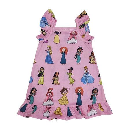 Disney Collection Little & Big Girls Disney Princess Sleeveless Square Neck Nightshirt, 7/8 , Pink