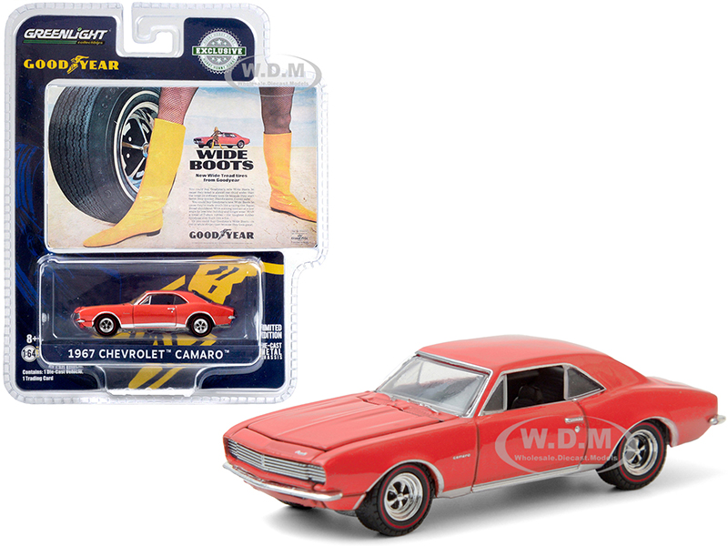 1967 Chevrolet Camaro Orange Wide Boots New Wide Tread Tires from Goodyear Goodyear Vintage Ad Cars Hobby Exclusive 1/64 Diecast Model Car by G