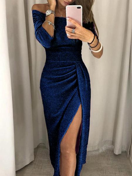 Yoins Navy Glitter Slit Design Off The Shoulder Half Sleeves Dress