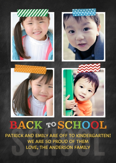 Back to School 5x7 Cards, Premium Cardstock 120lb with Elegant Corners, Card & Stationery -Back to School Taped Photos