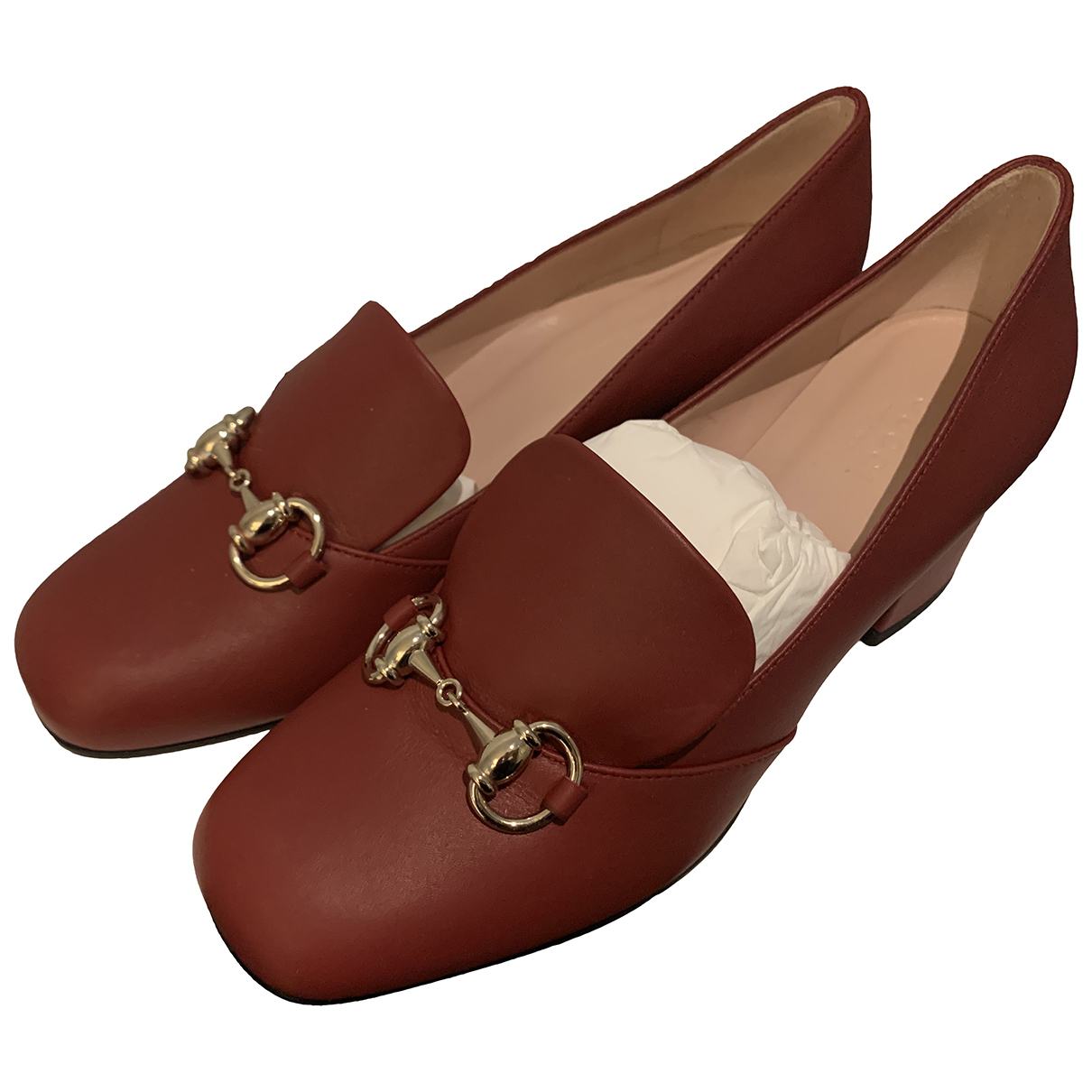 Gucci N Burgundy Leather Mules & Clogs for Women 36.5 EU