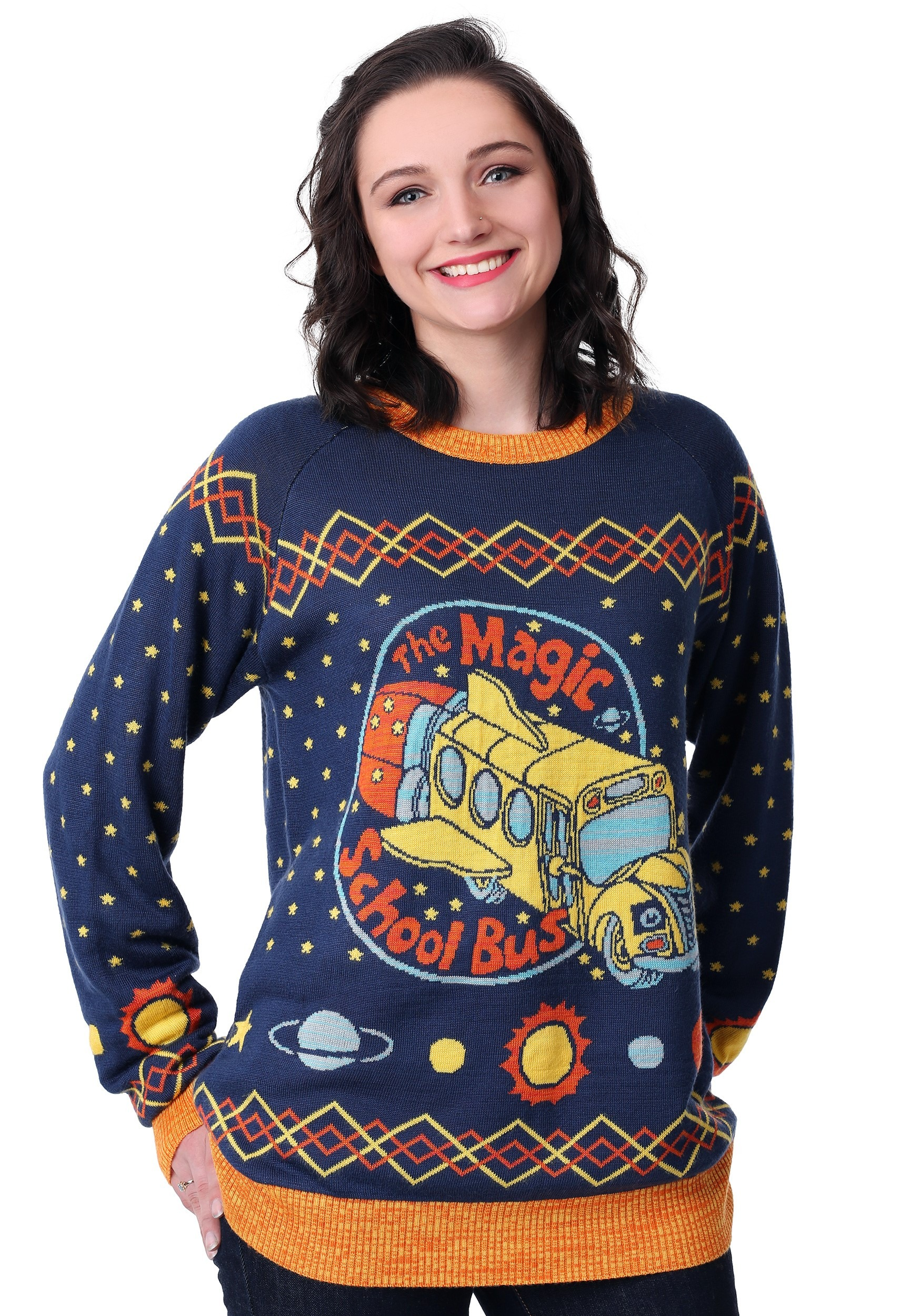 Adult Magic School Bus Ugly Christmas Sweater