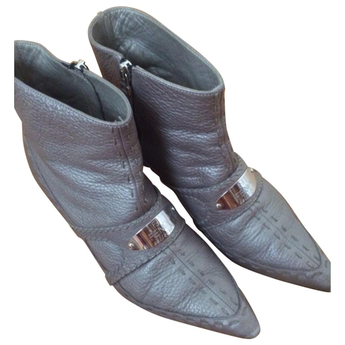 Fendi - Bottes   pour femme en cuir - gris
