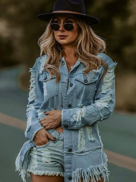 Milanoo Blusa de mujer azul cielo claro cuello vuelto manga larga hip hop tops de algodon