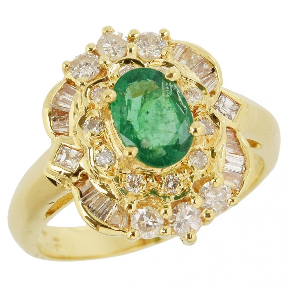 Non Signe / Unsigned \N Ring in  Gruen Gelbgold