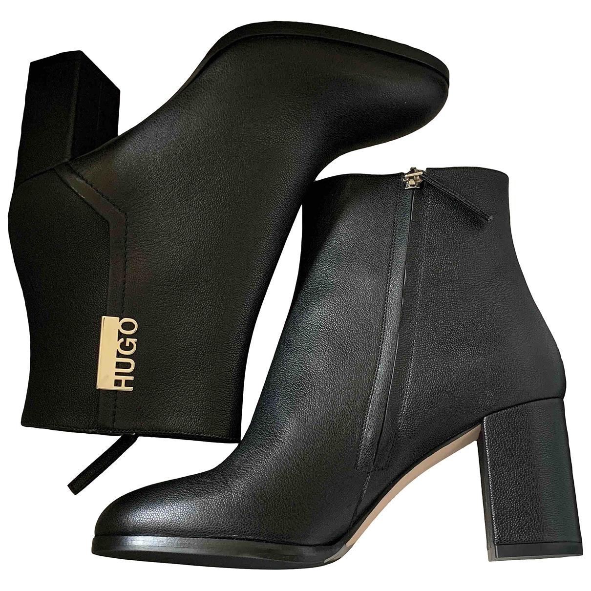 Hugo Boss \N Stiefel in  Schwarz Leder