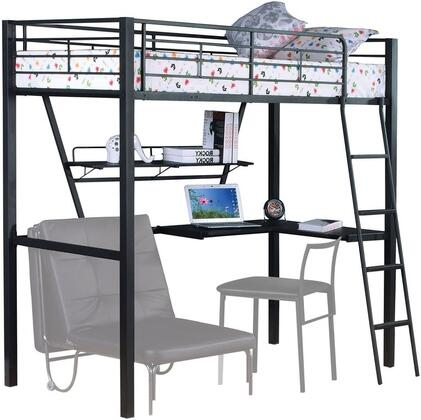 Senon Collection 37275 Twin Size Loft Bed with Desk  Work Station  Easy Access Guard Rails and Reversible Attached Ladder in Silver and Black