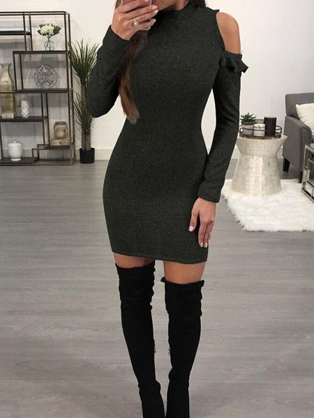 Yoins Cold Shoulder Cut out Ruffle Trim Long sleeves Midi Dress