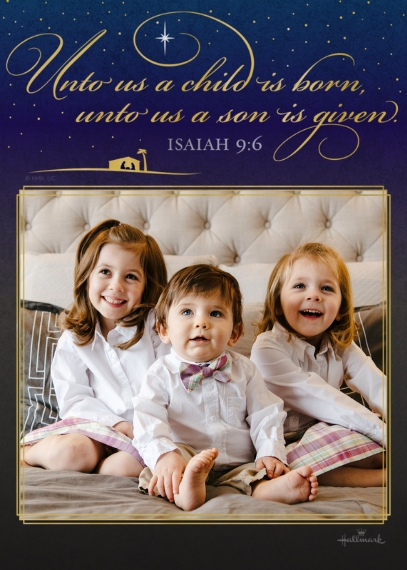 Religious Christmas Cards 5x7 Folded Cards, Standard Cardstock 85lb, Card & Stationery -Unto Us a Child is Born