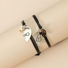 2pcs Heart & Cat Charm Bracelet