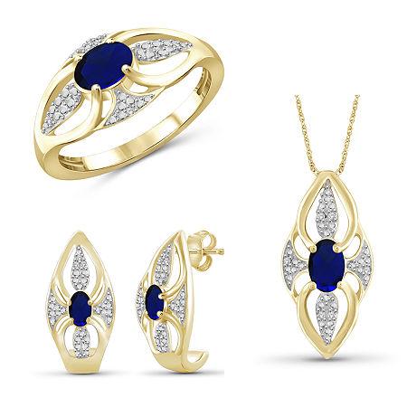 Diamond Accent Genuine Blue Sapphire 14K Gold Over Silver 3-pc. Jewelry Set, 8 , No Color Family