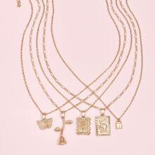 5pcs Rose Charm Necklace