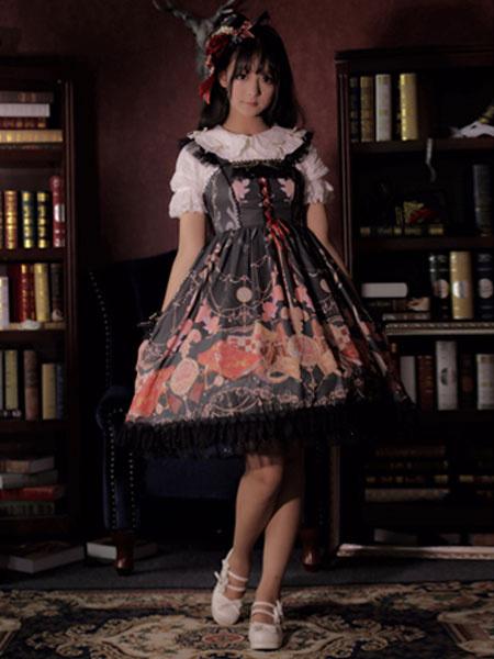Milanoo Classic Lolita JSK Dress Clock Chess Lace Trim Ruffle Bow Black Lolita Jumper Skirt