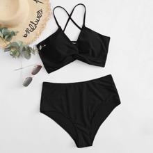 Plus Twist Lace-up Back Bikini Swimsuit
