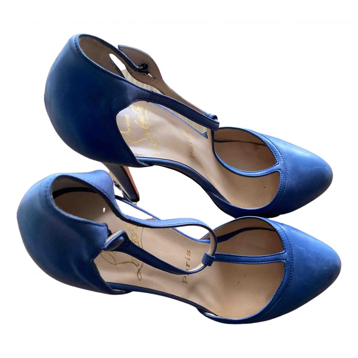 Christian Louboutin - Escarpins   pour femme en cuir - bleu
