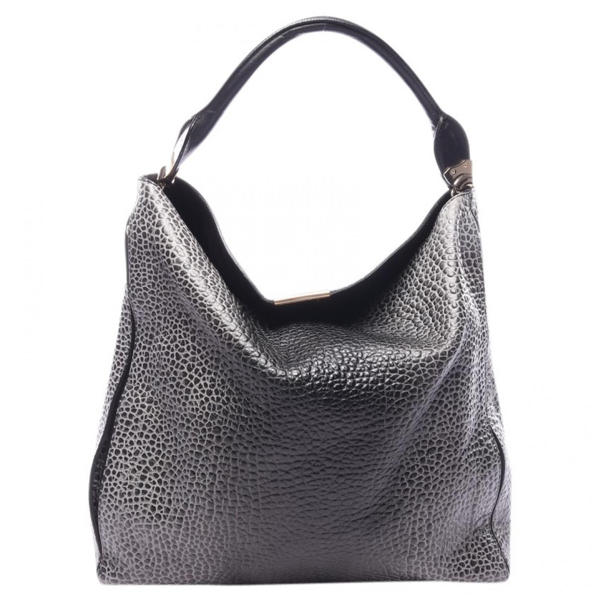 Burberry \N Handtasche in  Grau Leder