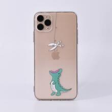 1 pieza funda de iphone transparente con estampado de dibujos animados